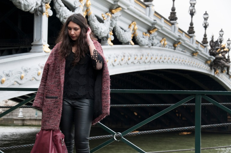 Pont Alexandre 3, eva dehongher photos, dentelle, simili cuir, tweed